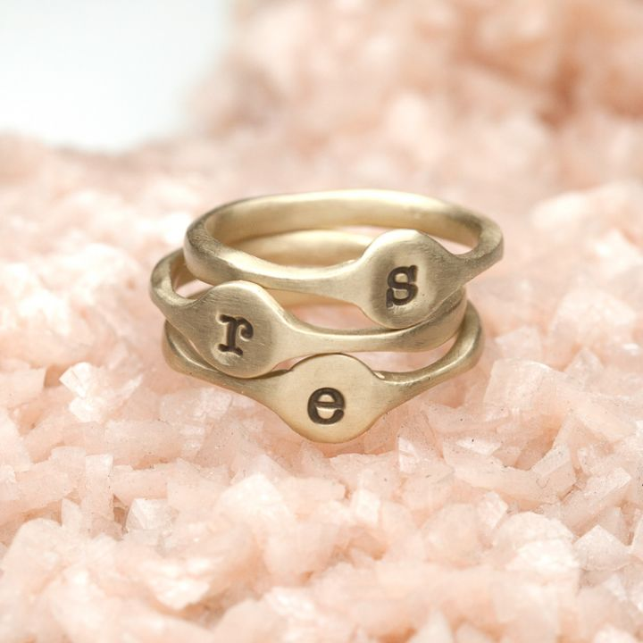 Initial Stacking Rings {10K Gold}