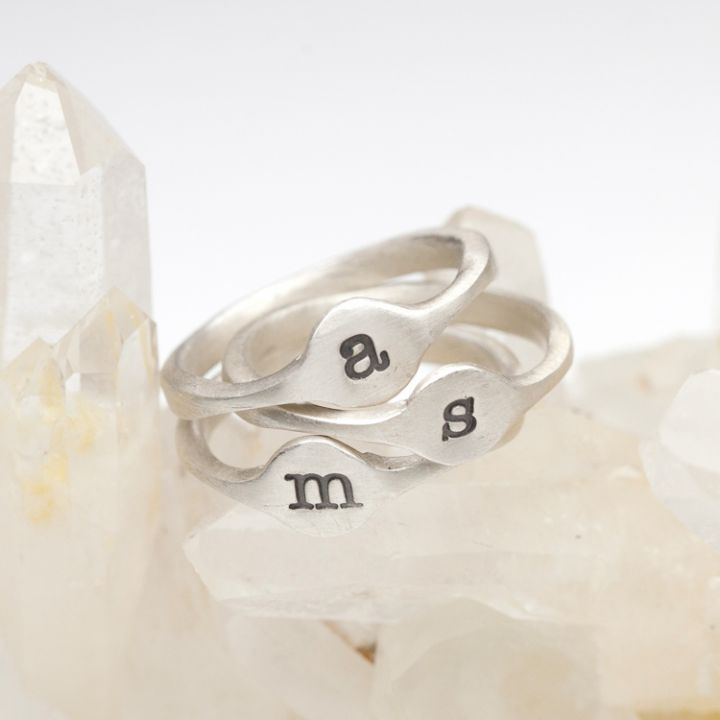 Initial Stacking Rings {Sterling Silver}