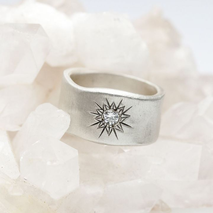 Sunburst Diamond Ring {Sterling Silver}