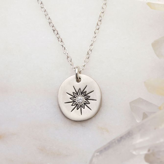 Sunburst Diamond Necklace {Sterling Silver}