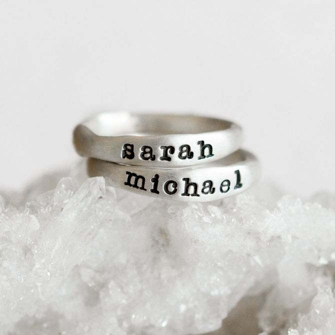 stackable name rings {sterling silver}