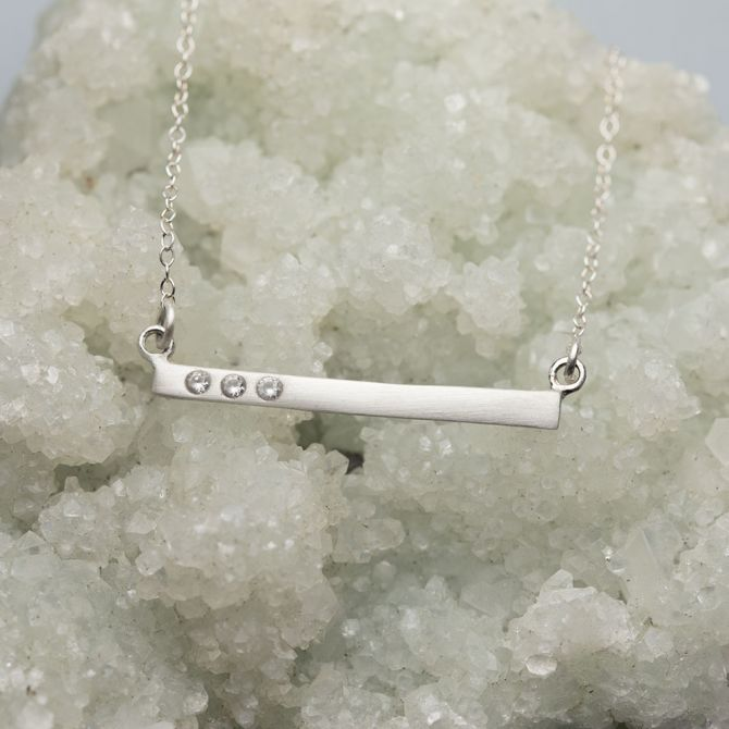 Cross Bar Crystal Necklace {Sterling Silver}