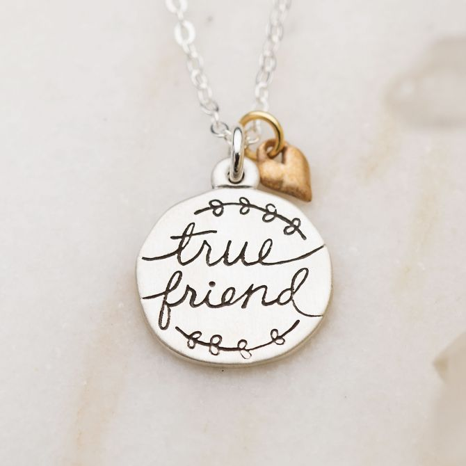 Heart To Heart True Friend Necklace {Sterling Silver}