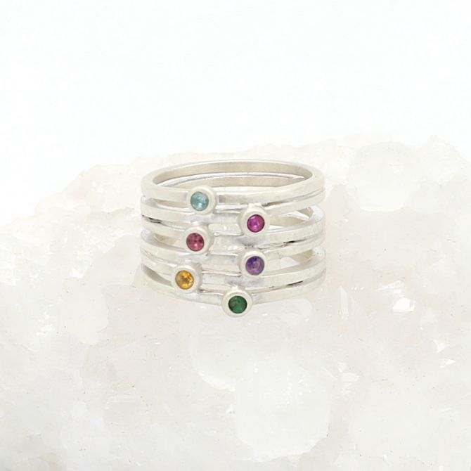 Always Together Birthstone Ring {Sterling Silver}