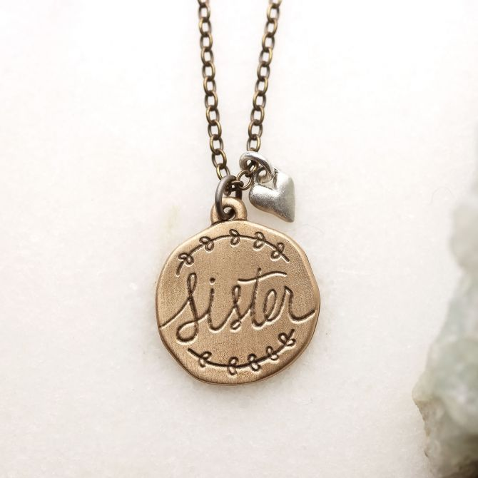Heart To Heart Sister Necklace {Bronze}