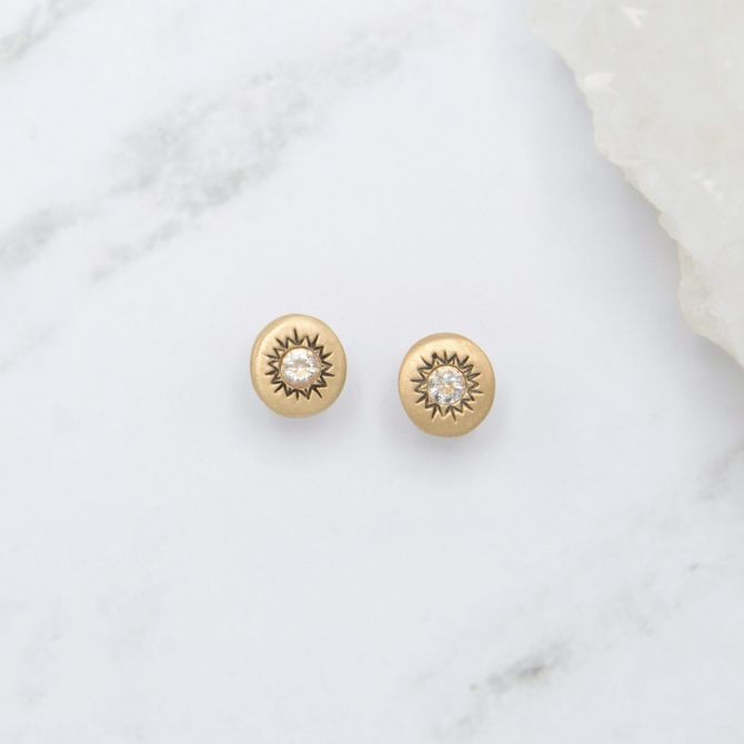 Sunburst Stud Earrings {14K Gold}