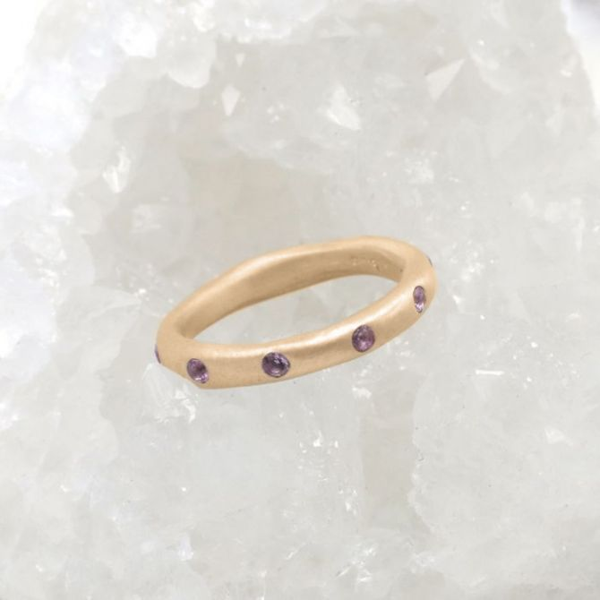 Stackable birthstone rings handcrafted in 14k yellow gold with 2mm birthstones