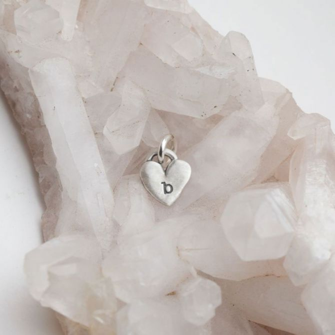 Cherished Heart Initial Charm {Sterling Silver}