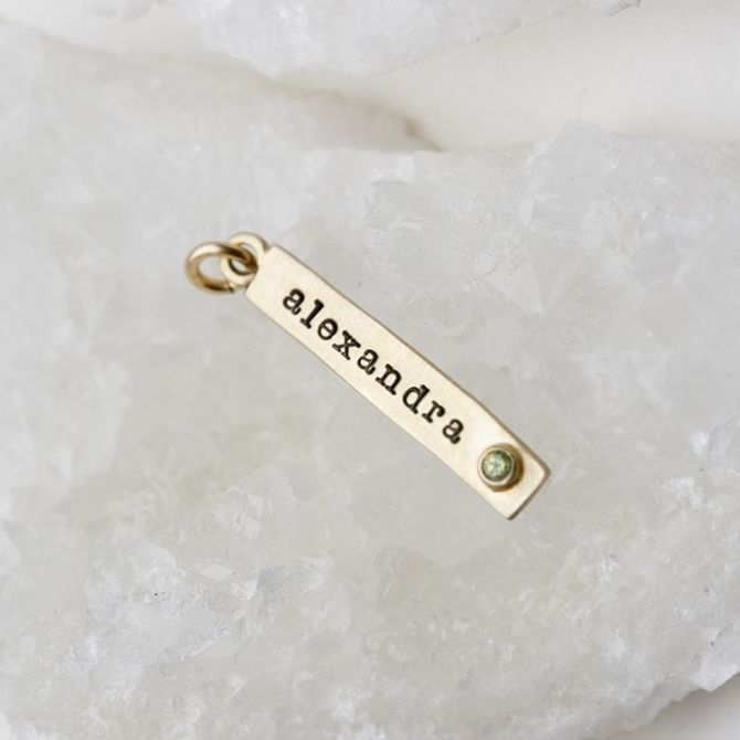 Bezel Birthstone Tag {10K Gold}