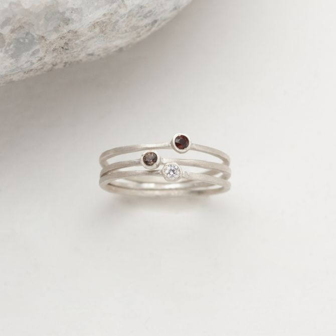 Finespun Birthstone Ring Trio {Sterling Silver}