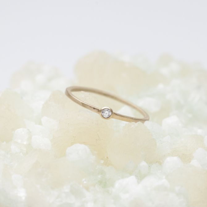 handcrafted 10k yellow gold Dainty finespun birthstone ring with a genuine birthstone or conflict free diamond