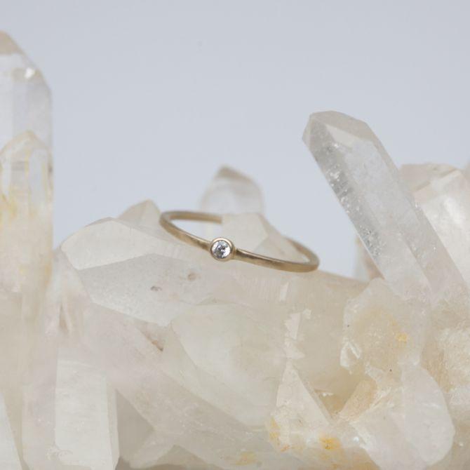 Dainty Finespun Birthstone Ring {14K Gold}