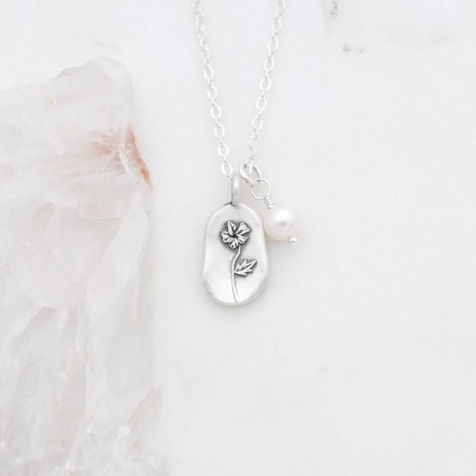 February Birth Flower Necklace {Sterling Silver}