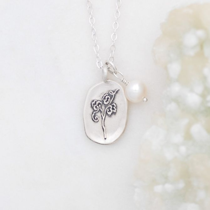 April Birth Flower Necklace {Sterling Silver}