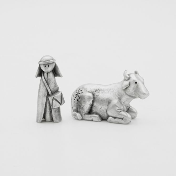 Little Drummer Boy + Ox Figurine Set {Pewter}