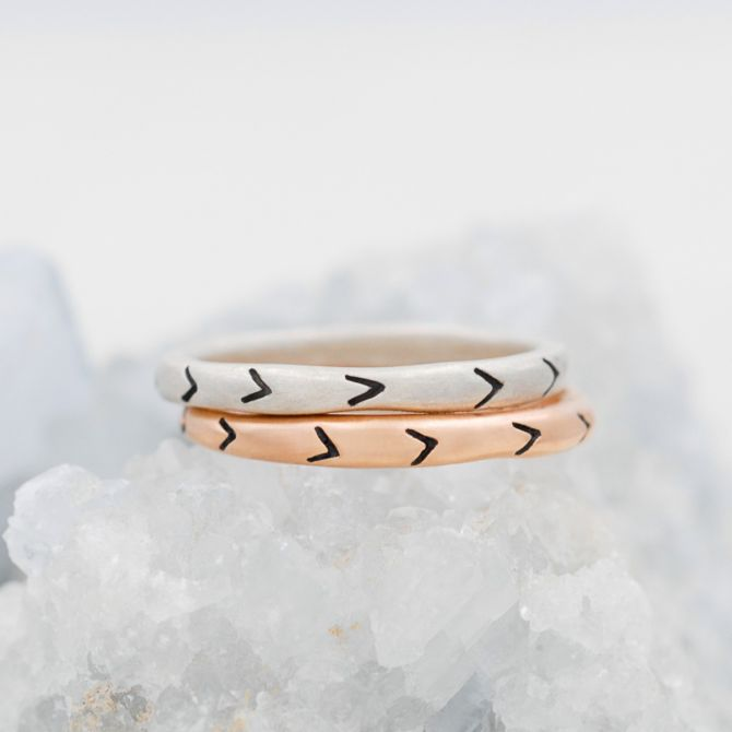 Forward Arrows Stacking Ring {Sterling Silver}
