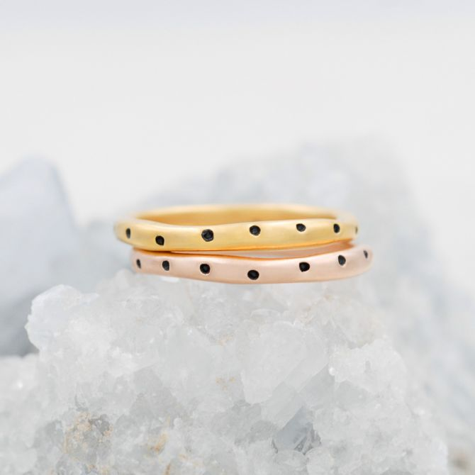 Polka Dots Stacking Ring {Yellow Gold Plated}