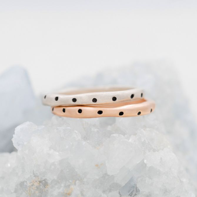 Polka Dots Stacking Ring {Sterling Silver}