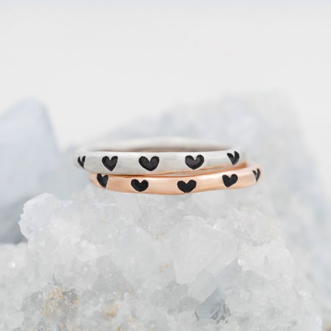 Tiny Hearts Stacking Ring {Rose Gold Plated}