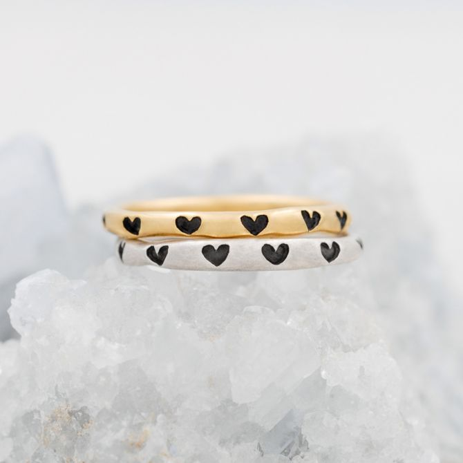 Tiny Hearts Stacking Ring {Yellow Gold Plated}