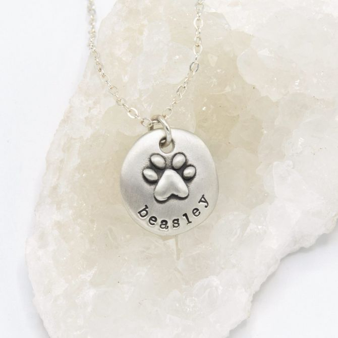 Furry Footprint Necklace {Sterling Silver}