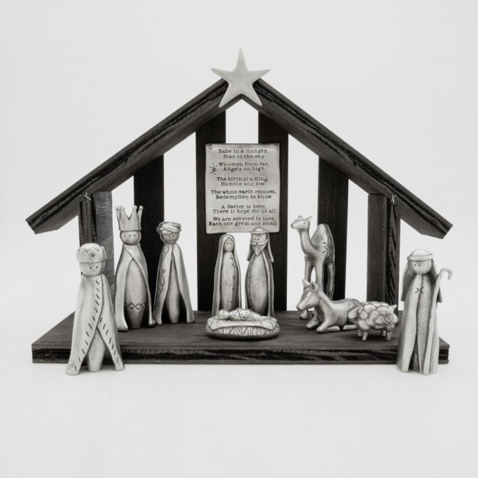 a savior is born {pewter} nativity set