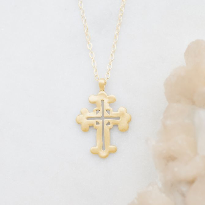 Work of Art Cross Necklace {10k Gold}