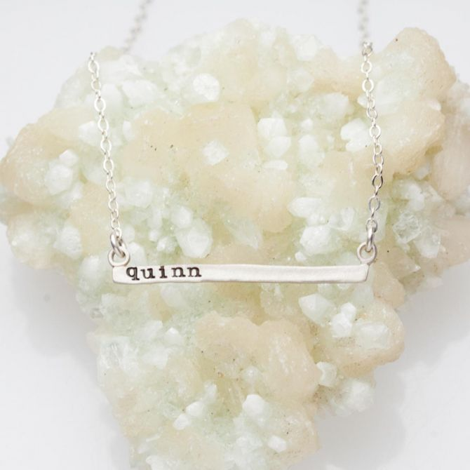 Personalized Cross Bar Necklace {Sterling Silver}
