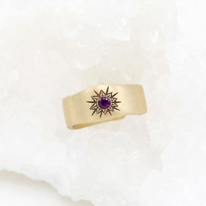 Sunburst birthstone ring handcrafted in 10k yellow gold and set with a birthstone of your choice