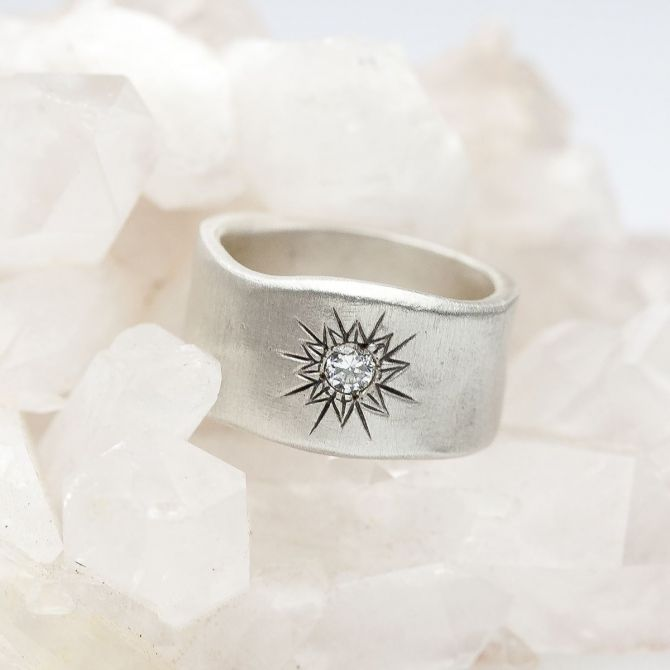 sterling silver sunburst diamond ring with a 3mm conflict free diamond