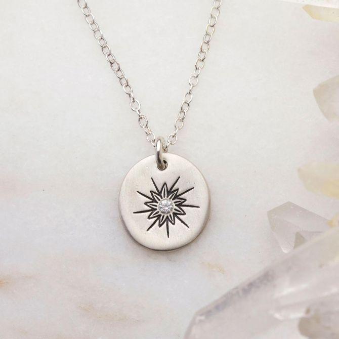 Sunburst Diamond Necklace {Sterling Silver}