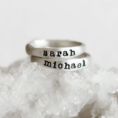 stacking name rings {sterling silver}