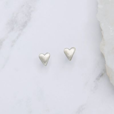 Tiny Heart Stud Earrings {Sterling Silver}