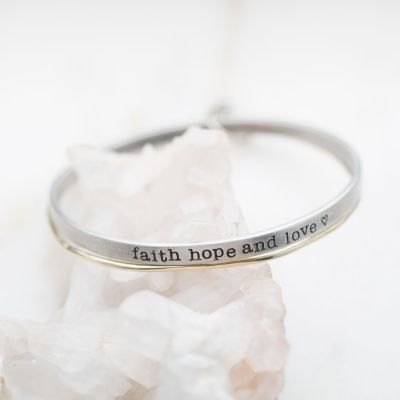 Faith Hope and Love Bangle Set {Mixed Metal}