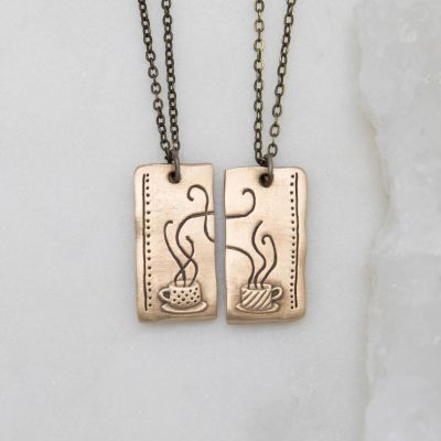 Coffee And Tea Necklace Set {Bronze}