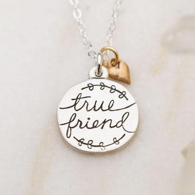 Heart To Heart True Friend Necklace {Sterling Silver}