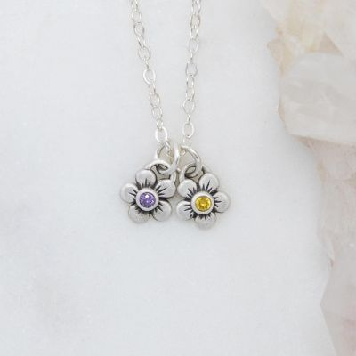 Birthstone Bloom Necklace {Sterling Silver}
