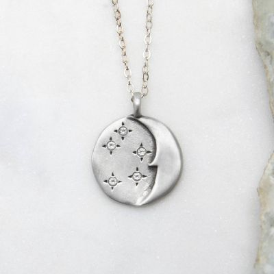 I Love You Moon And Stars Necklace {Sterling Silver}