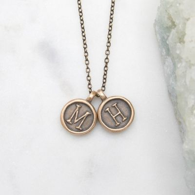 North Star Initial Necklace {Bronze}