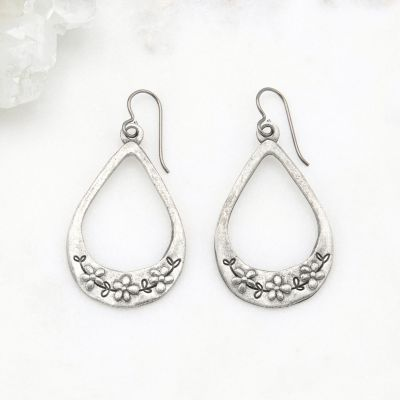 Bud and Blossom Drop Earrings {Pewter}