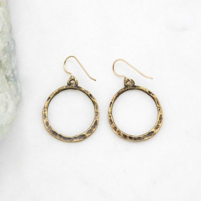 Hammered Hoop Earrings {Bronze-Plated}