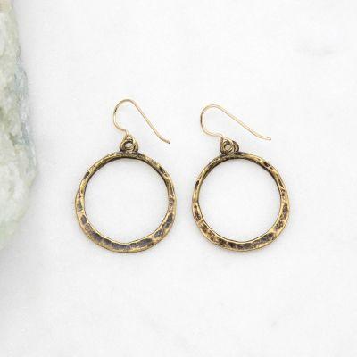 Hammered Hoop Earrings {Bronze-Plated}