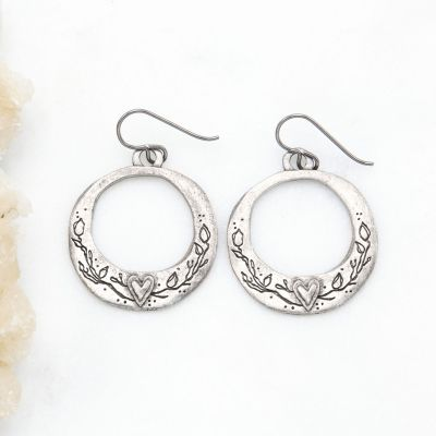 Let Love Grow Hoop Earrings {Pewter}