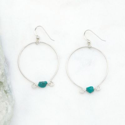 Me and You Turquoise Hoops {sterling silver}