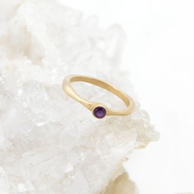 Bezel Birthstone Ring {10K Gold}