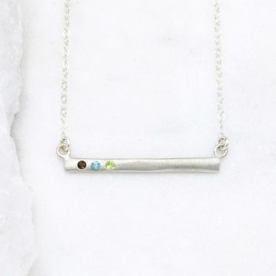 Cross Bar Birthstone Necklace {Sterling Silver}