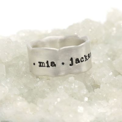 Very fine line ring handcrafted in sterling silver with a satin/antiqued finish customizable with a name, phrase or date