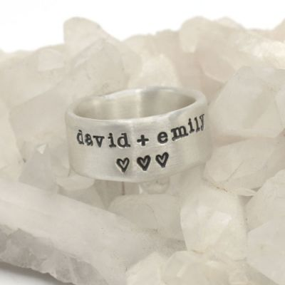 Band together ring handcrafted in sterling silver with an antiqued/satin finish and personalized with words, names, or a quote