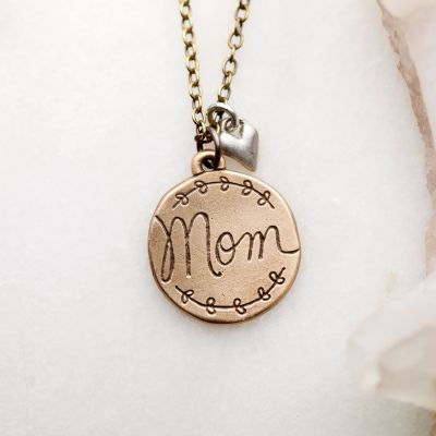 Heart To Heart Mom Necklace {Bronze}