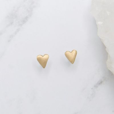 Tiny Heart Stud Earrings {10k gold}